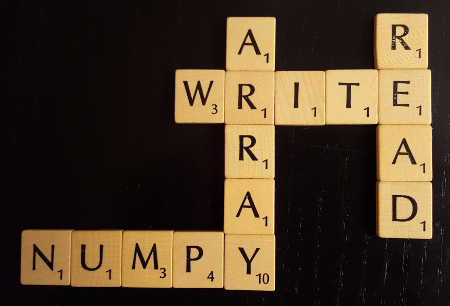 Scrabble with the Text NumPy, read, write, array